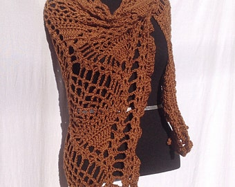 Pineapple Shawl in Chocolate Brown