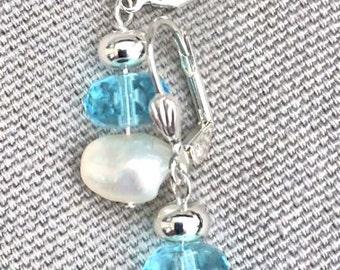 Aquamarine Czech glass and freshwater pearl earrings