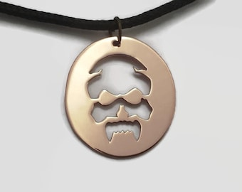 Vampire Skull Pendant Necklace on Black Cord Choker in Copper or Brass - Fanged skull jewelry for goths and metal heads