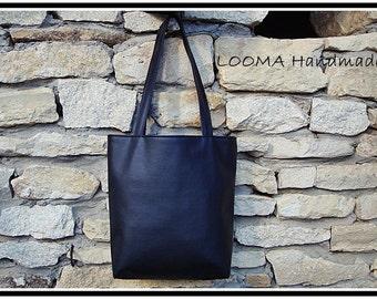 Black faux leather bag, Black vegan bag, black purse, Tote, Black tote bag, Shopping bag, Vegan Purse Tote, Medium Tote Bag, Faux Leather Tote