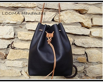 Black leather bucket bag, Bucket bag, Small leather bag, Shopping bag, Black leather bag, handbag black leather,