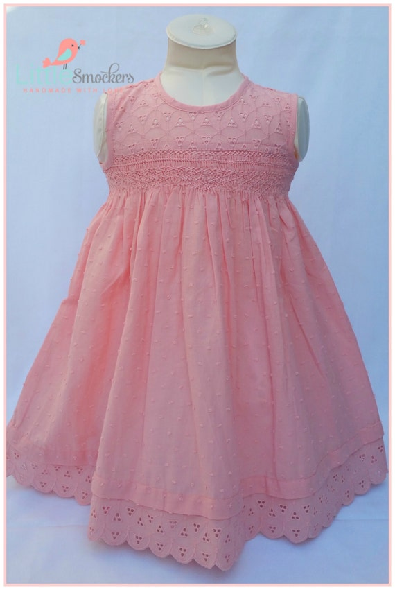 Gorgeous Peach Hand Smocked Baby Dress Size 1
