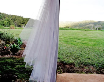 Two tier veil.  Cut edge veil. Raw edge wedding veil. 2 tier wedding veil. Plain edge veil