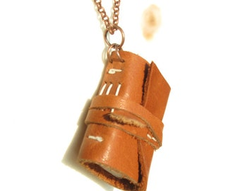Small medieval leather book necklace