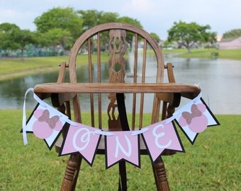 Minnie Mouse High Chair Banner Minnie Pink and Black Banner Minnie Mouse Party Decorations Minnie Banner Minnie Cake Smash Banner Photoprop