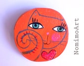 Illustrated wooden brooch, wooden illustrated orange cat. handmade one of a kind