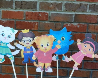 Set of 5 Daniel Tiger Centerpiece Picks or Cake Toppers