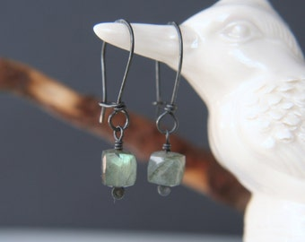 Eunice - faceted cube labradorite earrings  hand forged ear wires