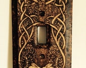 Rabbits in Wisteria - Celtic/Elven Wooden Light Switch Cover Pyrography