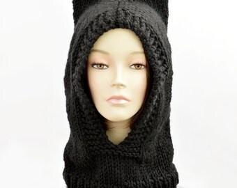 Cat Ear Beanie, Hood Hat, Black Cat Ear Hat, Balaclava Hat, Hat Scarf Hood, Bonnet Femme, Cat Beanie, Knit Cat Hat, Animal Ear, Woman Beanie