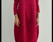 Red loose tunic dress / Soft maxi long top / Long sleeves maxi dress