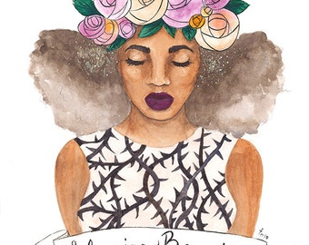 Briar Rose | disney inspired, blush, orange, black, natural hair, watercolor, black art, carefree black girl, black girl magic