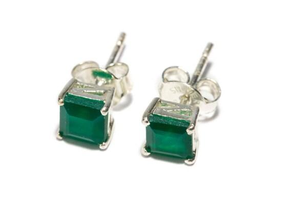 Green Onyx Gemstone Sterling Silver Stud Earrings Simple Jewellery Dainty Jewellery  Free UK Delivery Gift Boxed