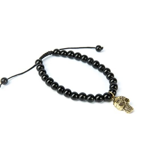 Black Onyx Gemstone Bracelet Skull Charm Macrame Adjustable Wrap Bracelet Charm Bracelet Unisex + Giftbag + Free UK Delivery