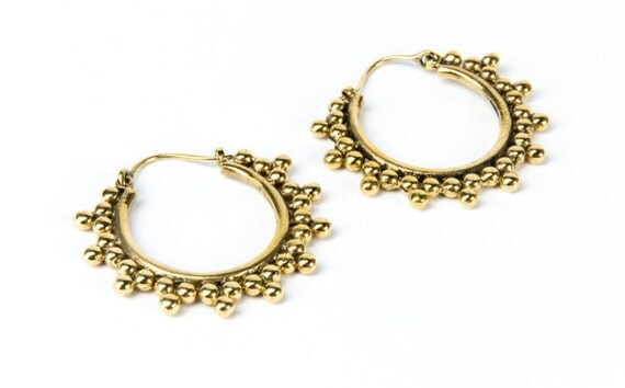 Tribal Brass Earrings Dotted design with clasp handmade, Brass, Afghan Style , Tribal Earrings, Gift boxed, Free UK post BG3