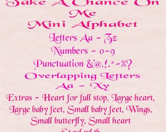 Take A Chance On Me Mini Alphabet - Make any name date or word Plus extras - Book folding Pattern PDF