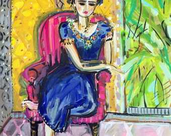Frida Kahlo Print woman art impressionist modern abstract girl paper or canvas