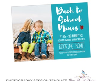 Back to School Mini Session Marketing Board - Template for Photographers - Digital Photoshop Template - 5x7 Photography Design - BTS01