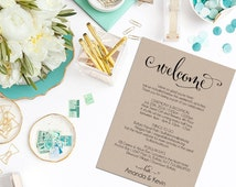 Wedding Itinerary, Printable Itinerary, Wedding Welcome Bag, Editable Itinerary, Wedding PDF, DIY, Welcome Box, WBWD4