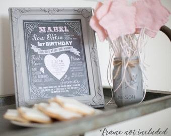 Personalised Baby's First Year Milestones Personalised Chalkboard Print Poster