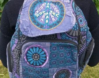 Peace Patchwork Backpack, Cotton Stonewash Flower Rucksack, Hippy Bohemian