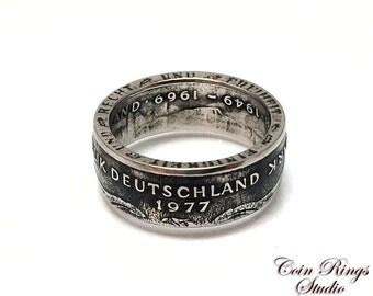 Germany Coin Ring - German 2 Marks - Handcrafted Rings from Coins - 1977 - Great for Gift - Deutschland - Deutsch mark jewelry souvenir