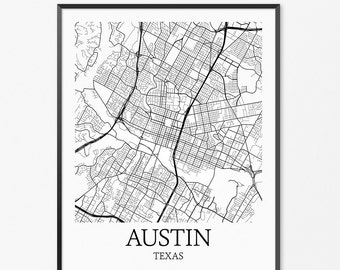 Austin Map Art Print, Austin Poster Map of Austin Decor, Austin City Map Art, Austin Gift, Austin Texas Art Poster