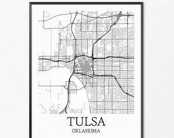 Tulsa Map Art Print, Tulsa Poster Map of Tulsa Decor, Tulsa City Map Art, Tulsa Gift, Tulsa Oklahoma Art Poster