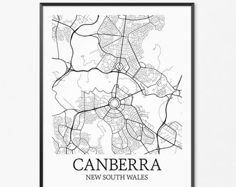 Canberra Map Art Print, Canberra Poster Map of Canberra Decor, Canberra City Map Art, Canberra Gift, Canberra New South Wales Art Poster