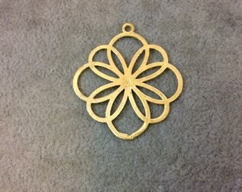 CWZ Small Sized Gold Plated Copper Open Geometric Flower Blossom Shaped Components - Measuring 37mm x 37mm - Sold in Packs of 10 Components