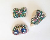 valentines day gift  butterfly Set of 3 hand painted beach rocks Stone magnet fridge  table decor napkins paperweight wedding favors