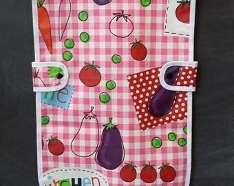 child apron in pink tiles - kitchen - gardening apron - craft apron apron