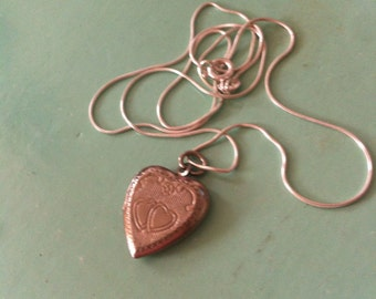 Victorian style silver traditional heart locket and chain vintage retro antique 1970s