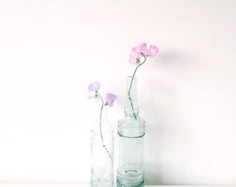 2 Vintage Glass bottle vases