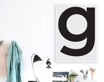 "G Letter Printable Scandinavian Poster - Affiche Scandinave  Initial Lowercase G Gray Nursery Monogram Gray 70x100 cm,50x70 cm,24x36"",11x14"""