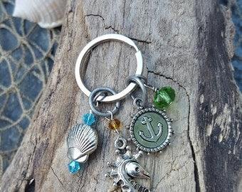 Seahorse Keychain - Coastal Keychain - Coastal Accessories - Coastal Keychain - Coastal Gifts - Mermaid Gifts - Purse Accent - Nautical