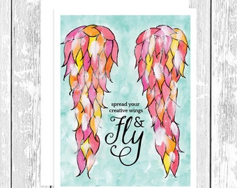 "NOTECARD: Spread Your Creative Wings and Fly Watercolor with Acrylic; Teal, Pink, Yellow, Orange Inspiring 4.25"" x 5.5"" A2 Greeting Card"