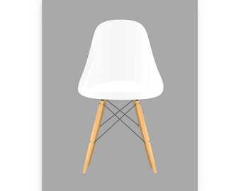 Eames Poster, White Eames Chair, Mid-Century Design Print, 50's Furniture Print, Retro Art, Retro Poster Print, Herman Miller Chair Print