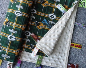Green Bay Packers Sensory Blanket, Flannel Blanket, Minky Blanket, Sensory Ribbon Blanket, Baby Blanket, Green Bay Baby, I Spy Blanket