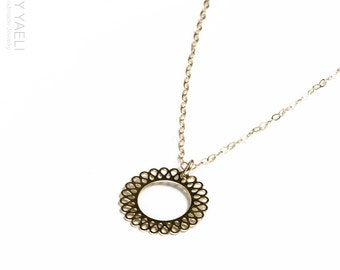 Gift under 50, circle necklace, lace circle charm, circle pendant, dainty necklace, everyday necklace, goldfilled necklace, filigree circle.