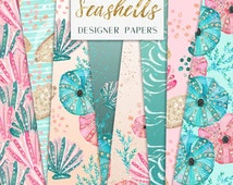 Seashell Digital Papers | Glitter Sea shells, corals, plants pattern designs | graphics resources, website design background, Stickers
