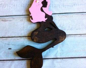 Mermaid Wood Wall Art reverse mermaid cutout 20h x 8w wood wall art