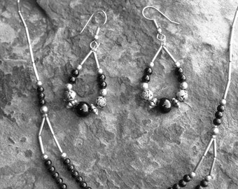 Vintage Silver Plated Beaded Necklace and Earring Set - Free Shipping