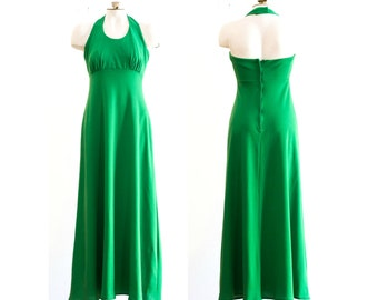 1970s green halter top maxi dress