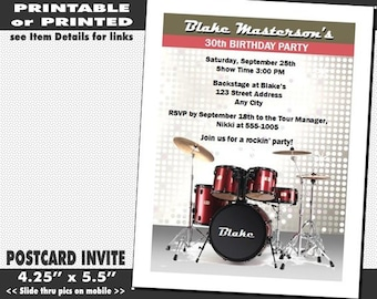Drums Invitation, Printable with Printed Option, Birthday Party, Drums Invites, Music Theme, Child or Adult