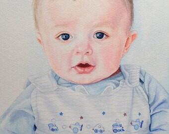 Custom Watercolor Portrait, Custom Painting, Custom Portrait in Watercolor, Baby Portrait, Commission Portrait Painting, Child Portrait