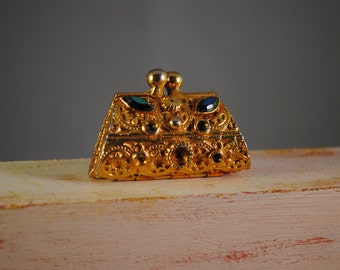 Vintage brass, jewelry box,miniature.tiny bag...there are some missing stones..