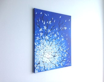 Abstract Flowers, Flower Painting, Tree painting, Nature Painting, White Flowers, Abstract art, Painting on canvas, Wall art, Gift for her