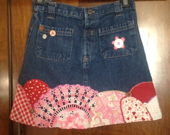 CANDYFLOSS patchwork denim skirt -ages 2-3 years