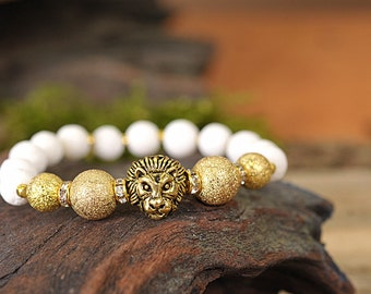 Coral bracelet, lion bracelet, gemstone bracelet, stone bracelet, beaded bracelet, gold bracelet, energy bracelet, white bracelet